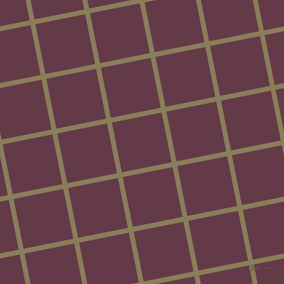11/101 degree angle diagonal checkered chequered lines, 7 pixel line width, 73 pixel square size, Clay Creek and Tawny Port plaid checkered seamless tileable