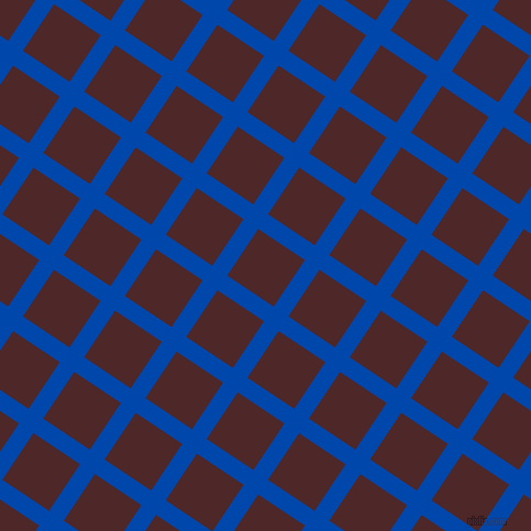 56/146 degree angle diagonal checkered chequered lines, 16 pixel line width, 51 pixel square size, Cobalt and Volcano plaid checkered seamless tileable