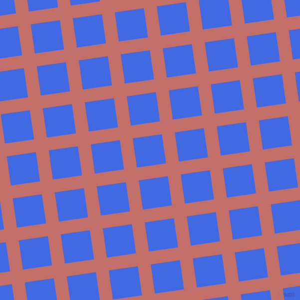 8/98 degree angle diagonal checkered chequered lines, 26 pixel lines width, 59 pixel square size, Contessa and Royal Blue plaid checkered seamless tileable
