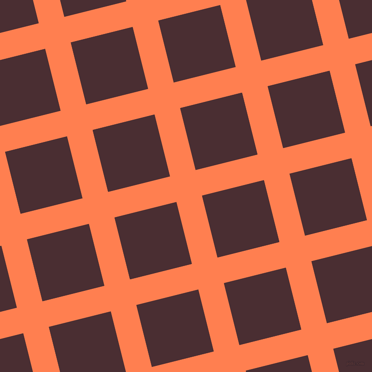 14/104 degree angle diagonal checkered chequered lines, 52 pixel line width, 126 pixel square sizeCoral and Cab Sav plaid checkered seamless tileable