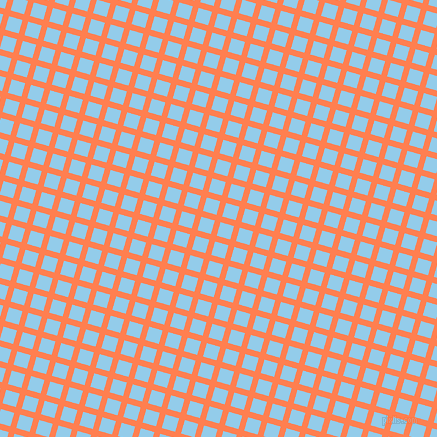 74/164 degree angle diagonal checkered chequered lines, 6 pixel line width, 14 pixel square size, Coral and Cornflower plaid checkered seamless tileable