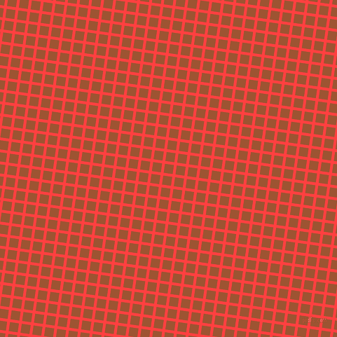 82/172 degree angle diagonal checkered chequered lines, 4 pixel lines width, 13 pixel square size, Coral Red and Piper plaid checkered seamless tileable