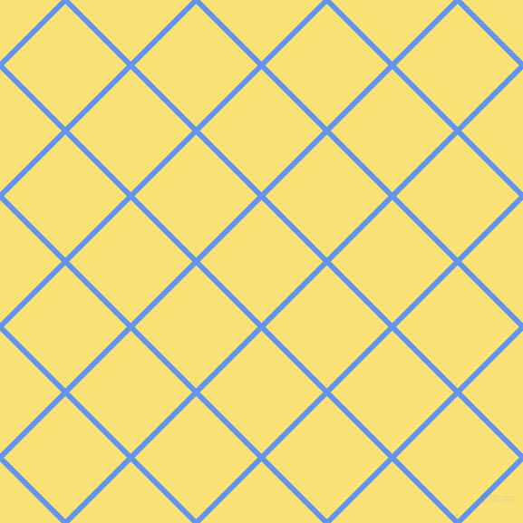 45/135 degree angle diagonal checkered chequered lines, 6 pixel line width, 96 pixel square size, Cornflower Blue and Sweet Corn plaid checkered seamless tileable