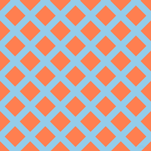 45/135 degree angle diagonal checkered chequered lines, 22 pixel line width, 49 pixel square size, Cornflower and Coral plaid checkered seamless tileable