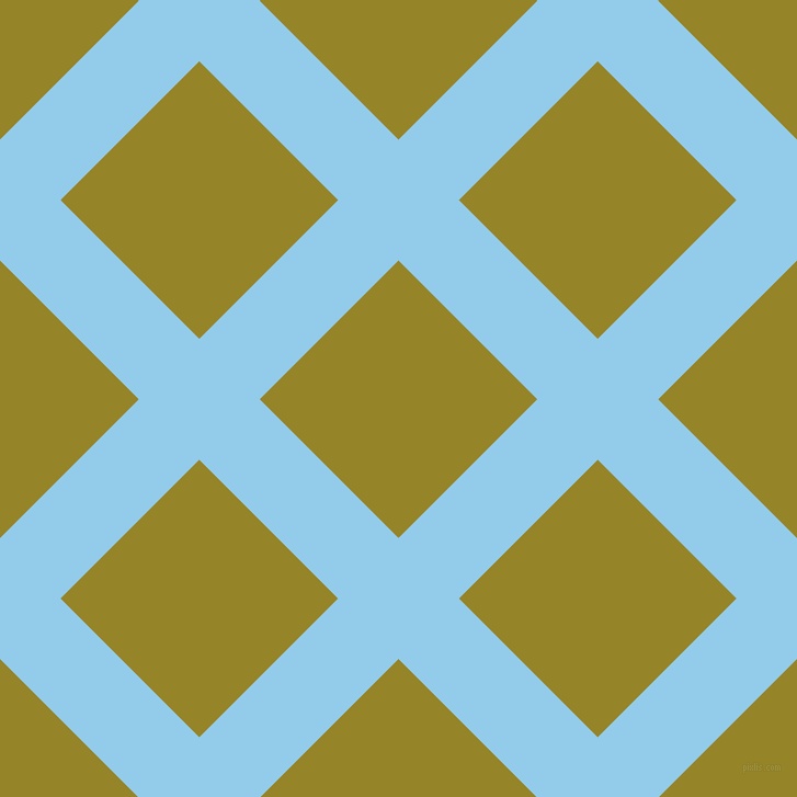 45/135 degree angle diagonal checkered chequered lines, 78 pixel line width, 179 pixel square size, Cornflower and Lemon Ginger plaid checkered seamless tileable