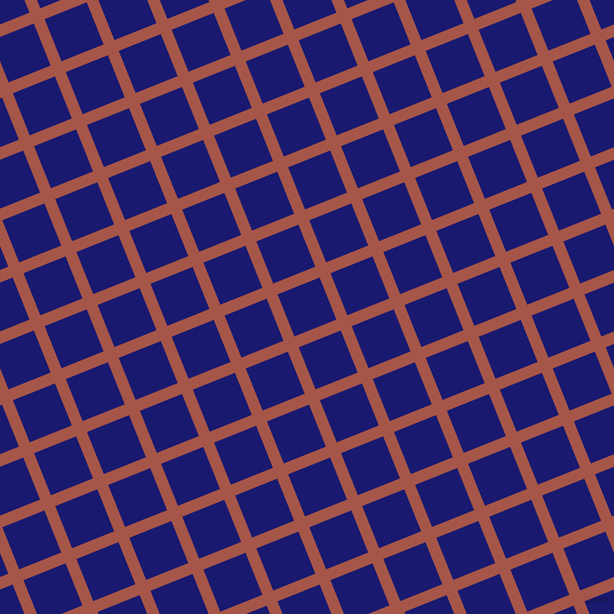 22/112 degree angle diagonal checkered chequered lines, 17 pixel line width, 66 pixel square size, Crail and Midnight Blue plaid checkered seamless tileable