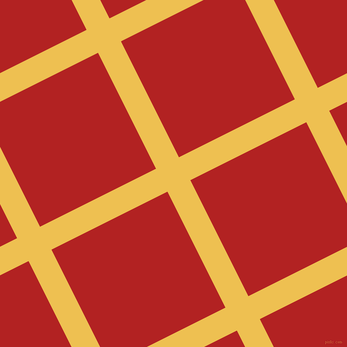 27/117 degree angle diagonal checkered chequered lines, 52 pixel line width, 263 pixel square size, Cream Can and Fire Brick plaid checkered seamless tileable