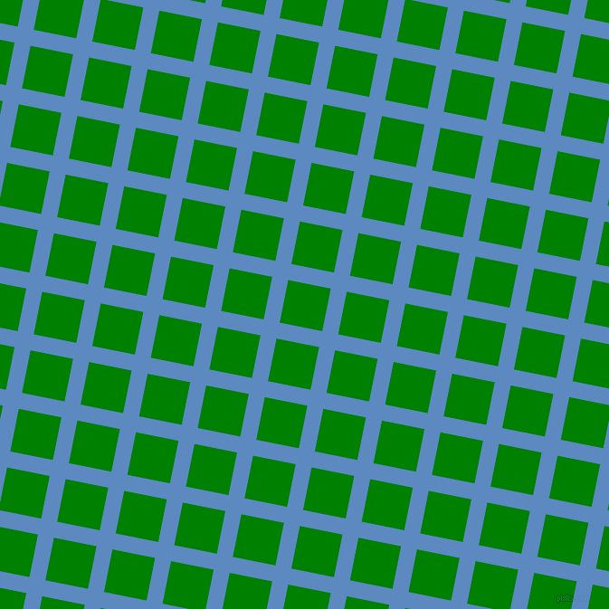 79/169 degree angle diagonal checkered chequered lines, 18 pixel lines width, 48 pixel square size, Danube and Green plaid checkered seamless tileable