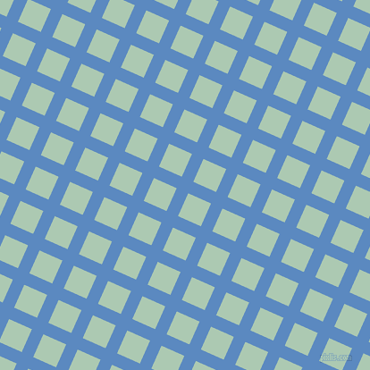 66/156 degree angle diagonal checkered chequered lines, 14 pixel lines width, 28 pixel square size, Danube and Gum Leaf plaid checkered seamless tileable