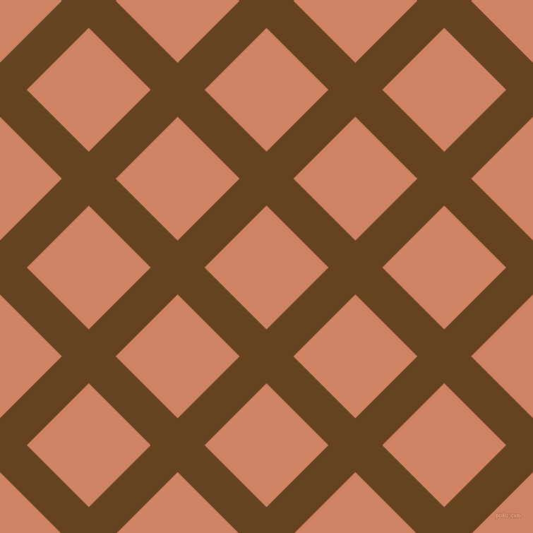 45/135 degree angle diagonal checkered chequered lines, 54 pixel line width, 124 pixel square size, Dark Brown and Burning Sand plaid checkered seamless tileable