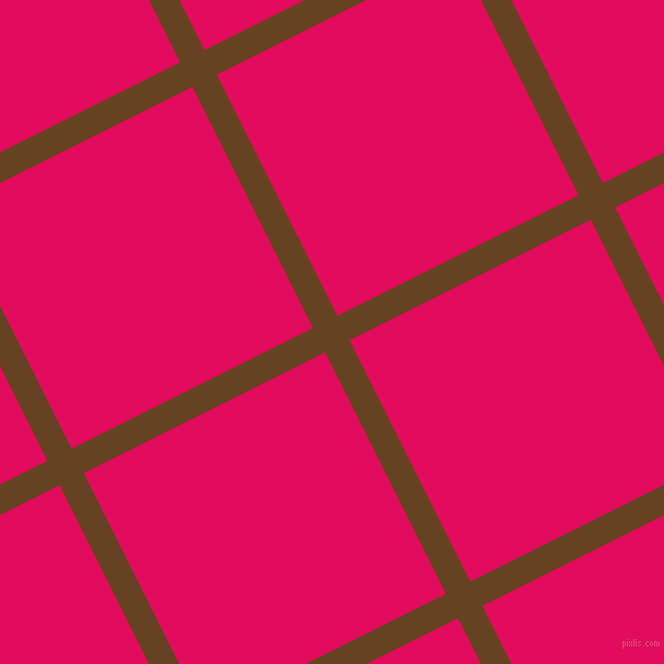 27/117 degree angle diagonal checkered chequered lines, 25 pixel line width, 247 pixel square size, Dark Brown and Razzmatazz plaid checkered seamless tileable