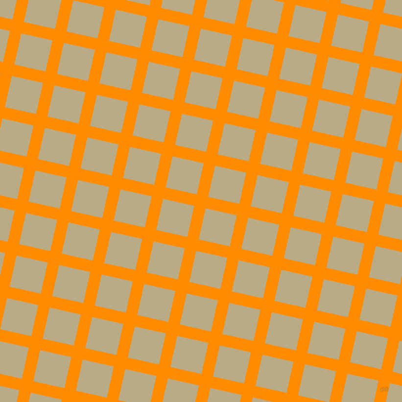 77/167 degree angle diagonal checkered chequered lines, 24 pixel lines width, 65 pixel square size, Dark Orange and Pavlova plaid checkered seamless tileable
