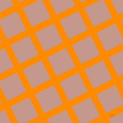 27/117 degree angle diagonal checkered chequered lines, 23 pixel lines width, 73 pixel square size, Dark Orange and Quicksand plaid checkered seamless tileable