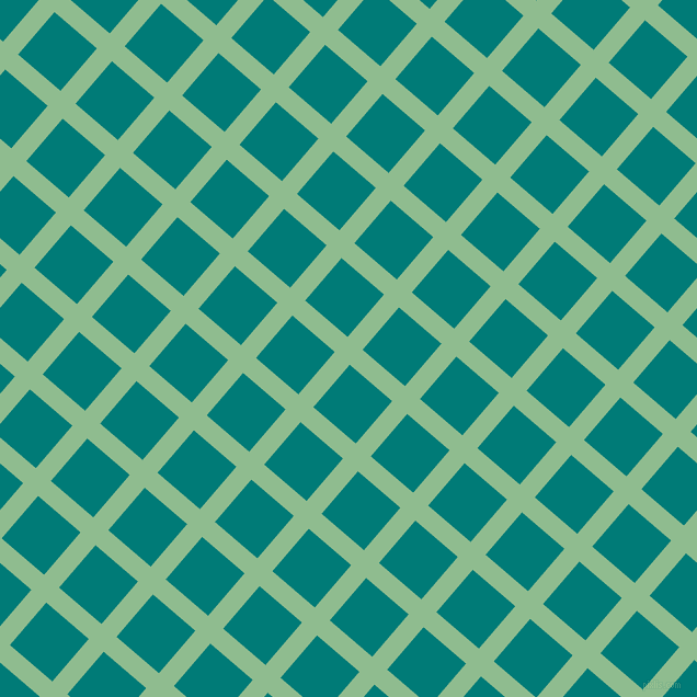 49/139 degree angle diagonal checkered chequered lines, 18 pixel line width, 51 pixel square size, Dark Sea Green and Surfie Green plaid checkered seamless tileable