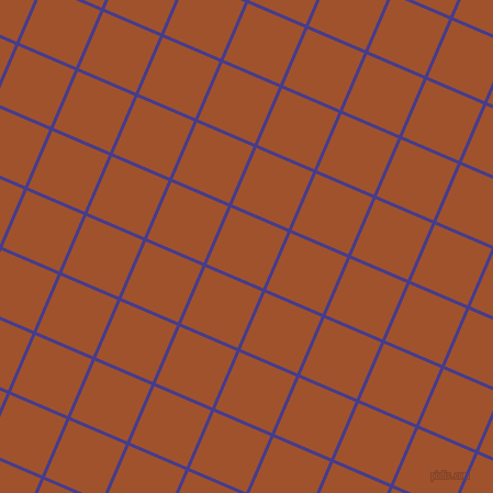 67/157 degree angle diagonal checkered chequered lines, 3 pixel lines width, 56 pixel square size, Dark Slate Blue and Sienna plaid checkered seamless tileable