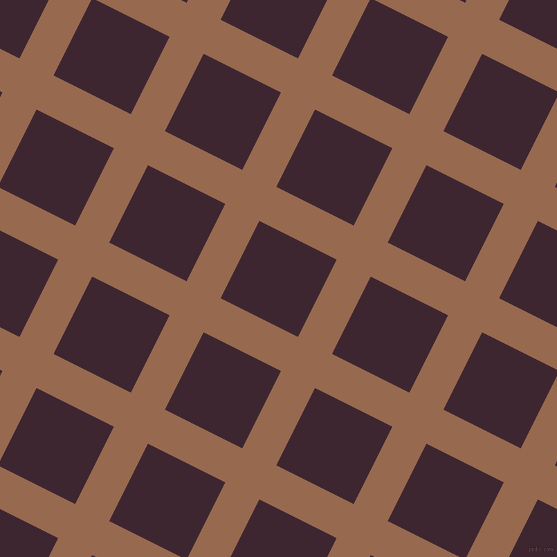 63/153 degree angle diagonal checkered chequered lines, 55 pixel lines width, 125 pixel square size, Dark Tan and Toledo plaid checkered seamless tileable