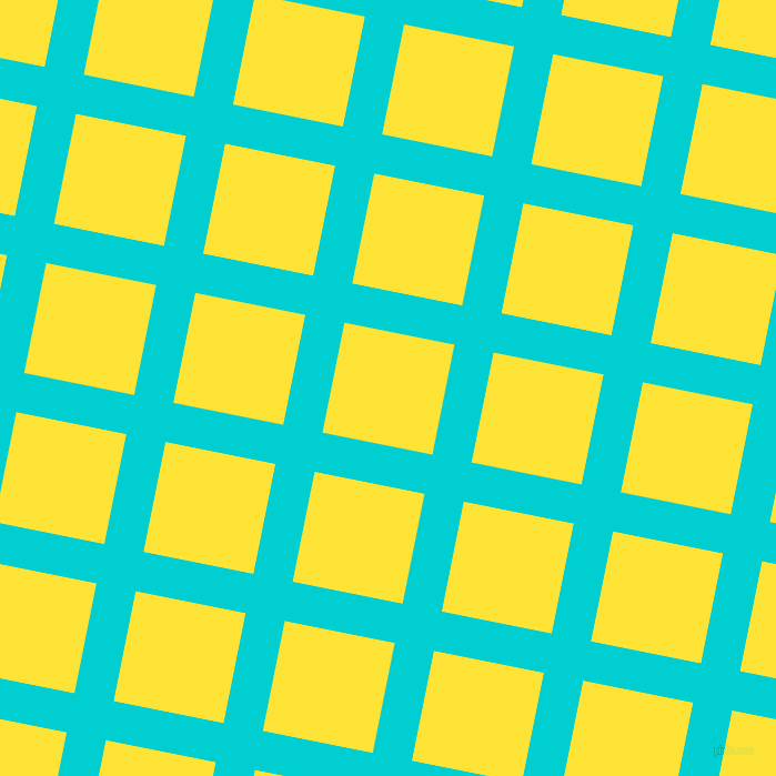 79/169 degree angle diagonal checkered chequered lines, 36 pixel lines width, 101 pixel square size, Dark Turquoise and Gorse plaid checkered seamless tileable
