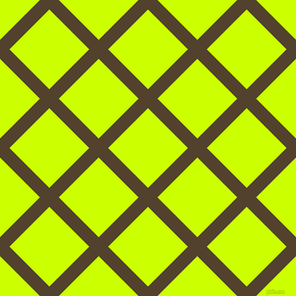45/135 degree angle diagonal checkered chequered lines, 26 pixel lines width, 110 pixel square size, Deep Bronze and Electric Lime plaid checkered seamless tileable