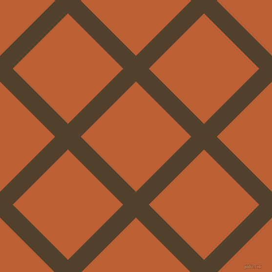 45/135 degree angle diagonal checkered chequered lines, 37 pixel line width, 160 pixel square size, Deep Bronze and Smoke Tree plaid checkered seamless tileable