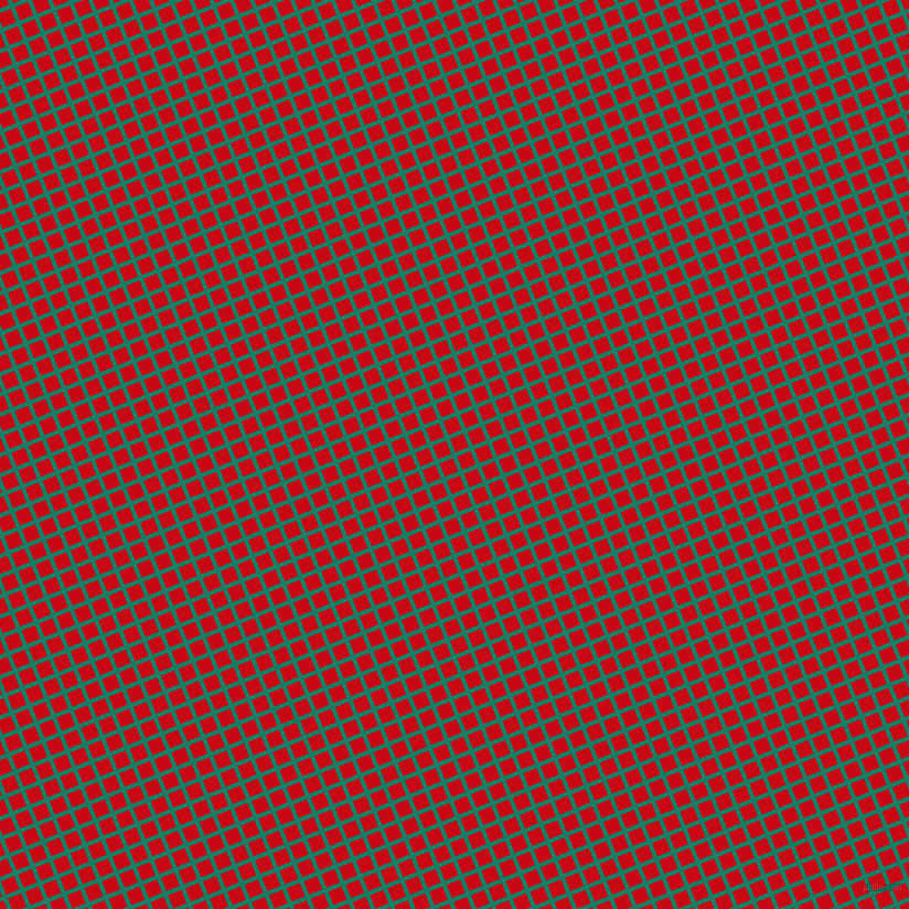 22/112 degree angle diagonal checkered chequered lines, 4 pixel line width, 13 pixel square size, Deep Sea and Venetian Red plaid checkered seamless tileable