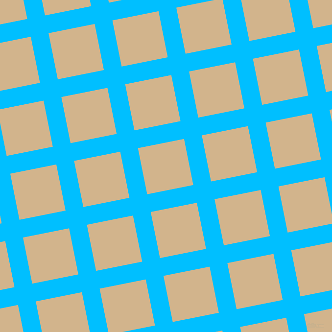 11/101 degree angle diagonal checkered chequered lines, 37 pixel lines width, 96 pixel square size, Deep Sky Blue and Tan plaid checkered seamless tileable