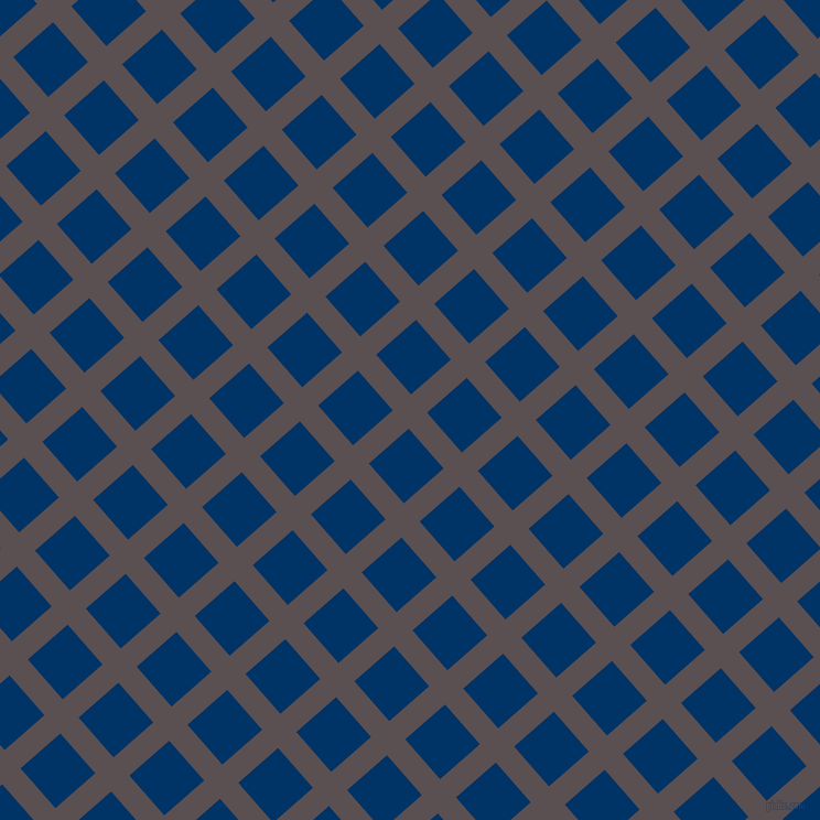 41/131 degree angle diagonal checkered chequered lines, 22 pixel line width, 48 pixel square size, Don Juan and Prussian Blue plaid checkered seamless tileable