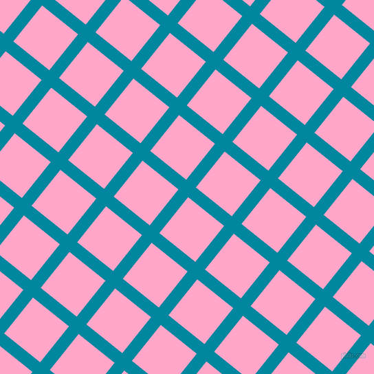 51/141 degree angle diagonal checkered chequered lines, 18 pixel line width, 67 pixel square size, Eastern Blue and Carnation Pink plaid checkered seamless tileable