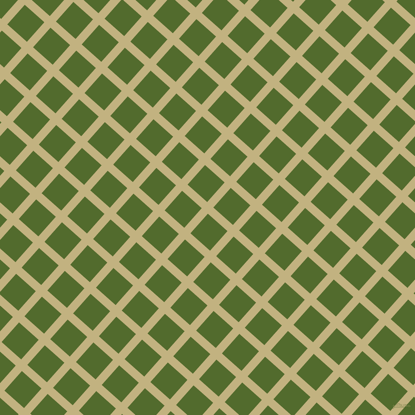 48/138 degree angle diagonal checkered chequered lines, 16 pixel line width, 51 pixel square size, Ecru and Green Leaf plaid checkered seamless tileable