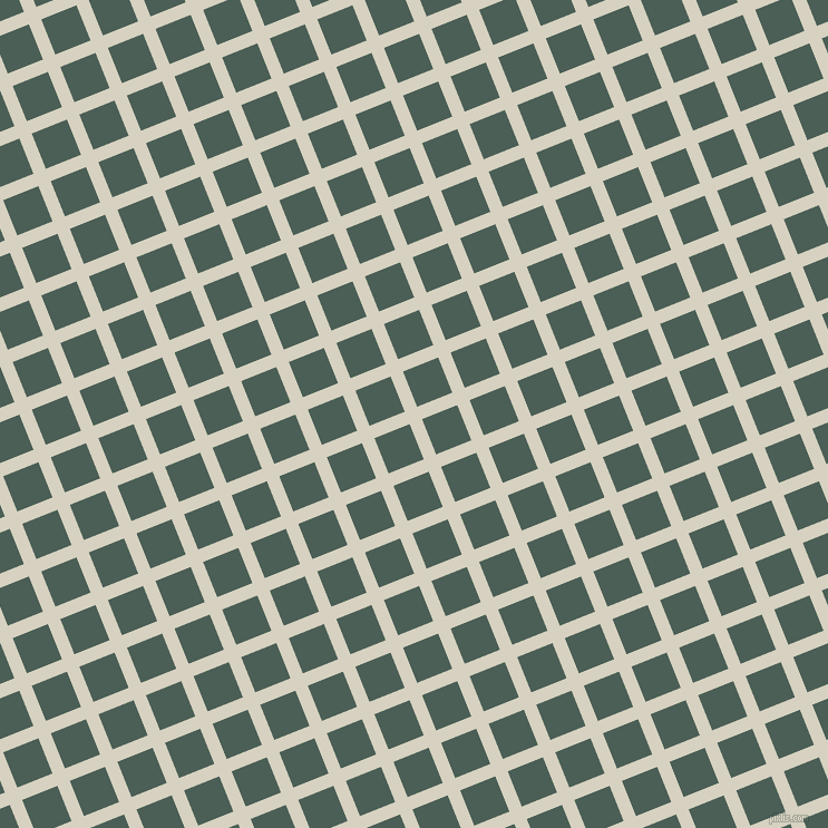 22/112 degree angle diagonal checkered chequered lines, 12 pixel lines width, 34 pixel square size, Ecru White and Viridian Green plaid checkered seamless tileable