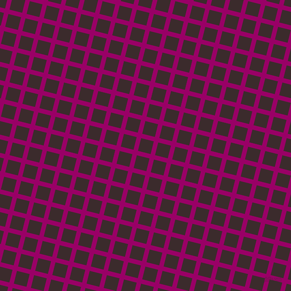 76/166 degree angle diagonal checkered chequered lines, 9 pixel line width, 26 pixel square size, Eggplant and Havana plaid checkered seamless tileable