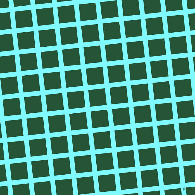 6/96 degree angle diagonal checkered chequered lines, 16 pixel line width, 56 pixel square size, Electric Blue and Kaitoke Green plaid checkered seamless tileable