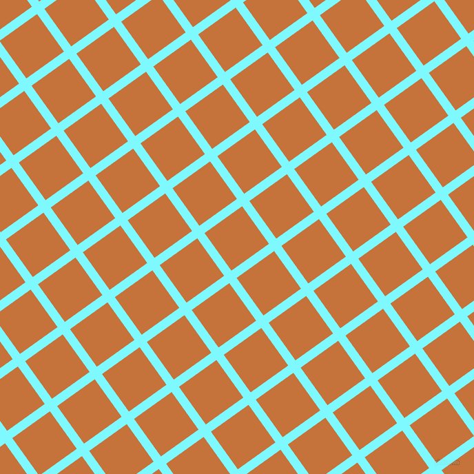 36/126 degree angle diagonal checkered chequered lines, 13 pixel line width, 67 pixel square size, Electric Blue and Zest plaid checkered seamless tileable