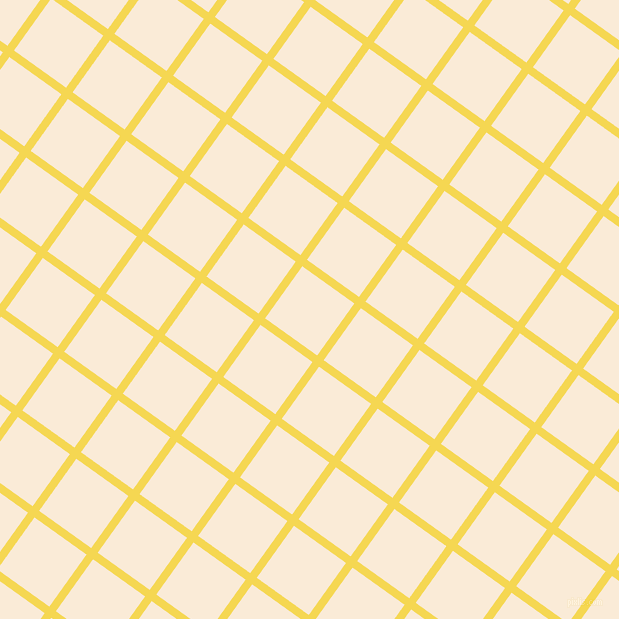 54/144 degree angle diagonal checkered chequered lines, 8 pixel lines width, 64 pixel square size, Energy Yellow and Antique White plaid checkered seamless tileable