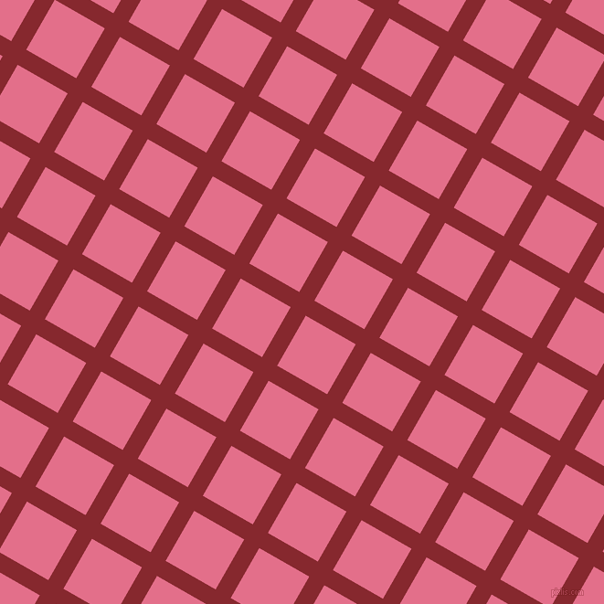 60/150 degree angle diagonal checkered chequered lines, 19 pixel line width, 63 pixel square size, Flame Red and Deep Blush plaid checkered seamless tileable