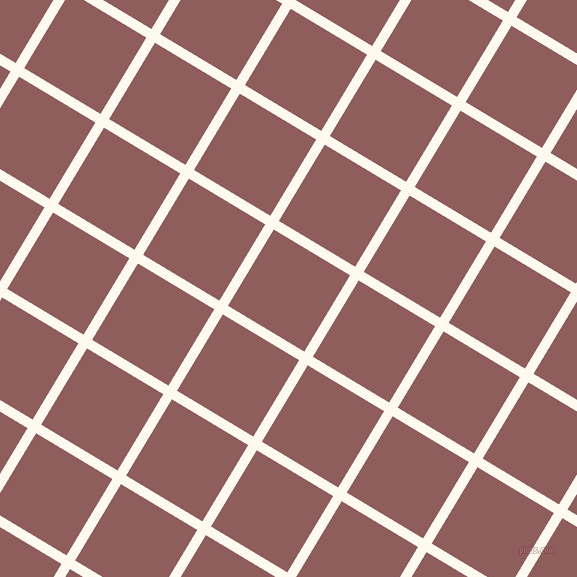 59/149 degree angle diagonal checkered chequered lines, 10 pixel line width, 89 pixel square size, Floral White and Rose Taupe plaid checkered seamless tileable