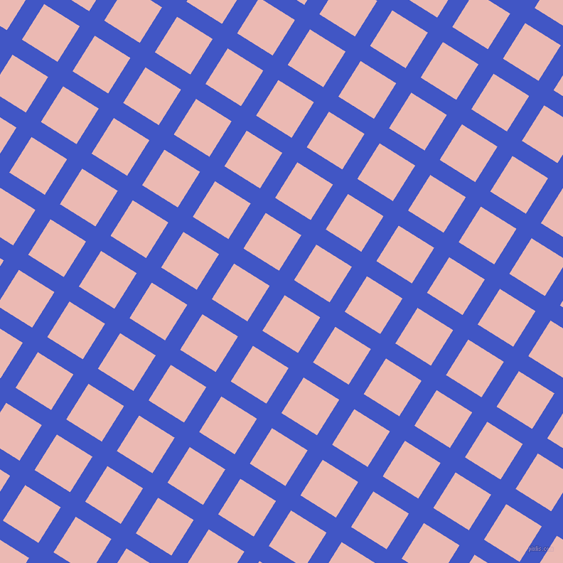 58/148 degree angle diagonal checkered chequered lines, 25 pixel line width, 59 pixel square size, Free Speech Blue and Beauty Bush plaid checkered seamless tileable