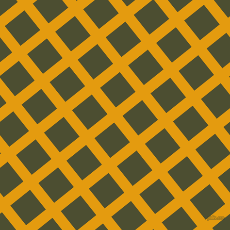 39/129 degree angle diagonal checkered chequered lines, 22 pixel lines width, 52 pixel square size, Gamboge and Waiouru plaid checkered seamless tileable