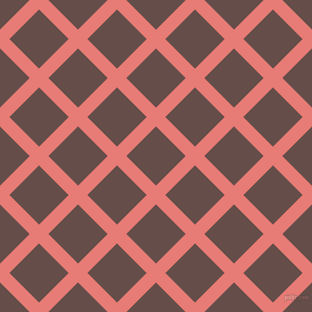 45/135 degree angle diagonal checkered chequered lines, 19 pixel line width, 60 pixel square size, Geraldine and Congo Brown plaid checkered seamless tileable