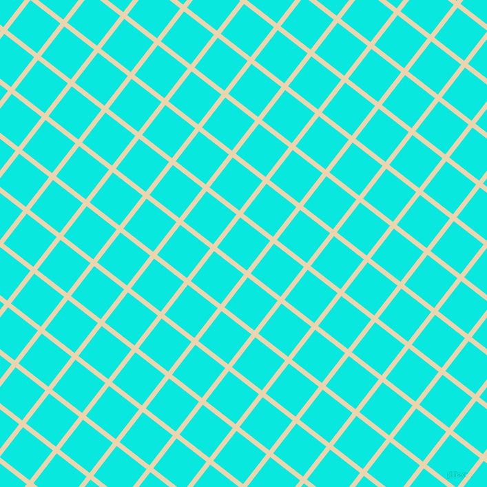 52/142 degree angle diagonal checkered chequered lines, 7 pixel lines width, 55 pixel square size, Givry and Bright Turquoise plaid checkered seamless tileable