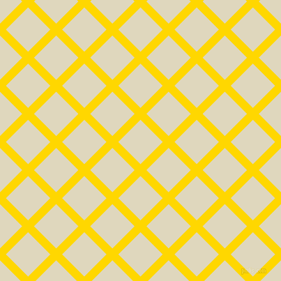 45/135 degree angle diagonal checkered chequered lines, 12 pixel line width, 45 pixel square size, Gold and Wheatfield plaid checkered seamless tileable