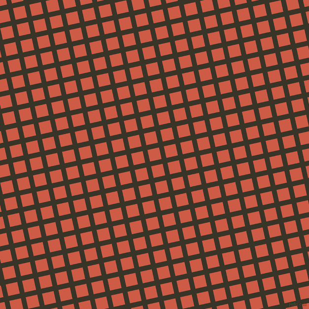 13/103 degree angle diagonal checkered chequered lines, 10 pixel lines width, 24 pixel square size, Graphite and Dark Coral plaid checkered seamless tileable