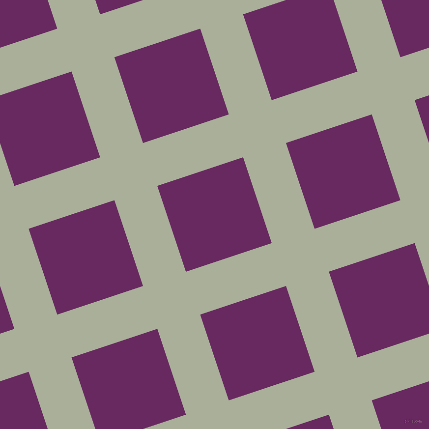 18/108 degree angle diagonal checkered chequered lines, 92 pixel line width, 184 pixel square size, Green Spring and Palatinate Purple plaid checkered seamless tileable