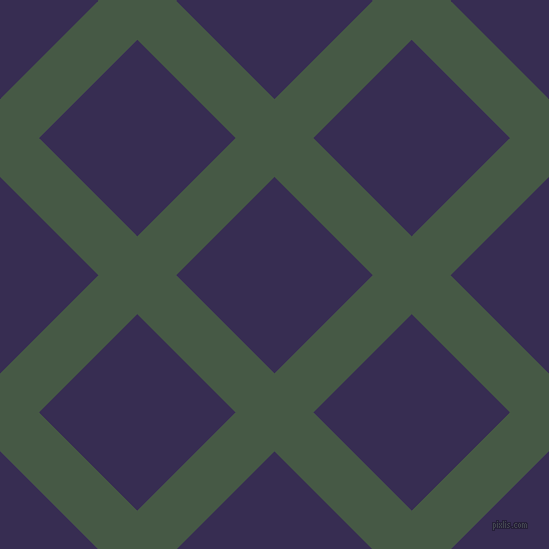 45/135 degree angle diagonal checkered chequered lines, 55 pixel line width, 139 pixel square size, Grey-Asparagus and Cherry Pie plaid checkered seamless tileable