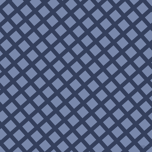 42/132 degree angle diagonal checkered chequered lines, 14 pixel line width, 30 pixel square size, Gulf Blue and Ship Cove plaid checkered seamless tileable