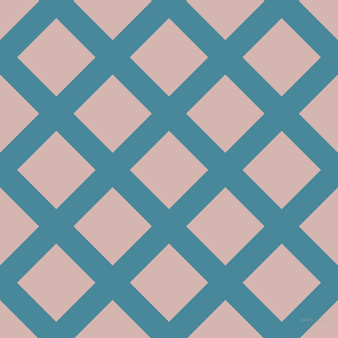 45/135 degree angle diagonal checkered chequered lines, 34 pixel line width, 78 pixel square size, Hippie Blue and Oyster Pink plaid checkered seamless tileable