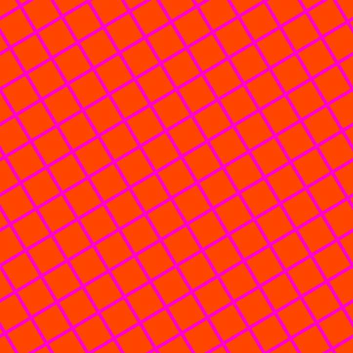 31/121 degree angle diagonal checkered chequered lines, 7 pixel line width, 55 pixel square size, Hot Magenta and Orange Red plaid checkered seamless tileable