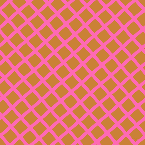 41/131 degree angle diagonal checkered chequered lines, 13 pixel line width, 39 pixel square size, Hot Pink and Golden Bell plaid checkered seamless tileable
