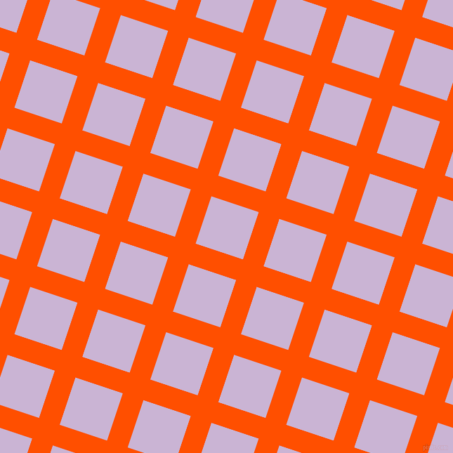 72/162 degree angle diagonal checkered chequered lines, 31 pixel lines width, 71 pixel square size, International Orange and Prelude plaid checkered seamless tileable
