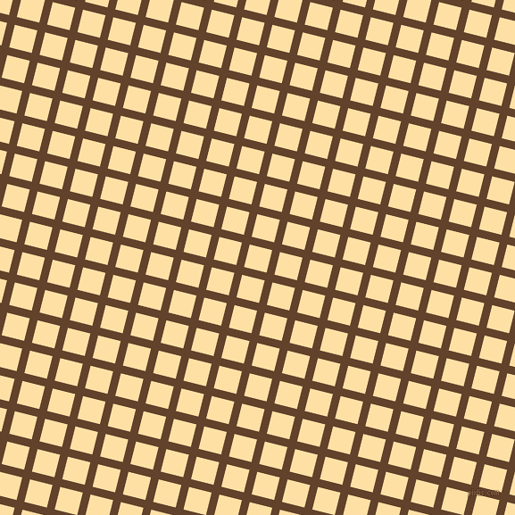 76/166 degree angle diagonal checkered chequered lines, 9 pixel line width, 26 pixel square size, Irish Coffee and Cape Honey plaid checkered seamless tileable