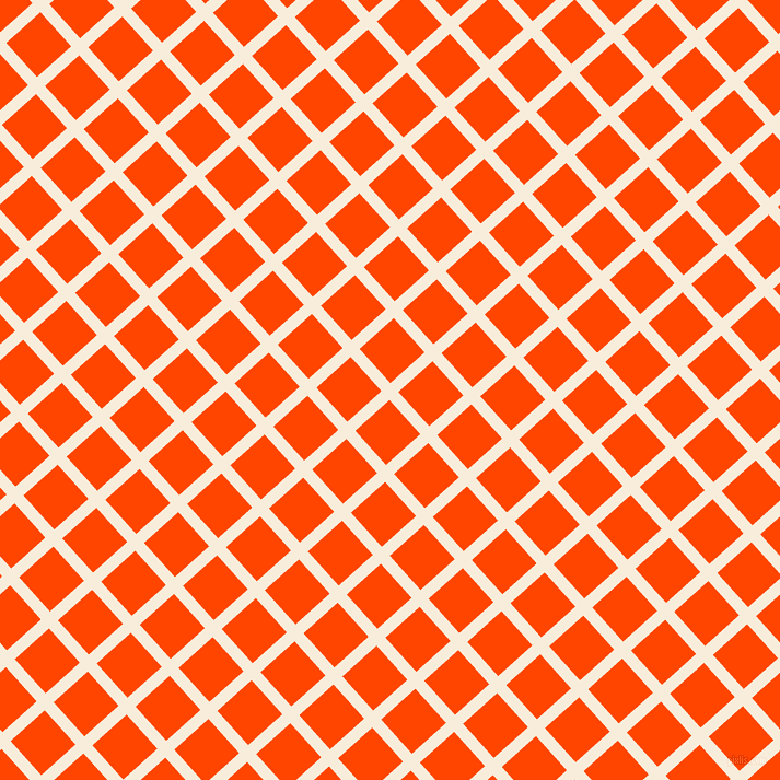 42/132 degree angle diagonal checkered chequered lines, 11 pixel lines width, 42 pixel square size, Island Spice and Orange Red plaid checkered seamless tileable